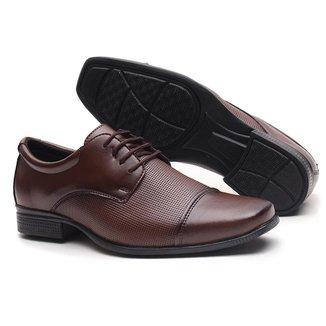 Sapato Social de Amarrar Miletto Texturizado - Preto Fosco