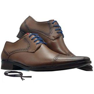Sapato social derby brogue masculino bico fino sola Couro MOD 658