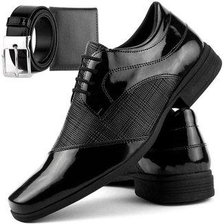 Sapato Social DHL Calçados Perfuros com Cadarço Masculino + Cinto e Carteira