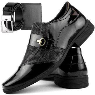 Sapato Social DHL Calçados Perfuros com Metal Masculino + Cinto e Carteira