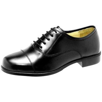 Sapato Social Em Box Alto Brilho, Solado Borracha.