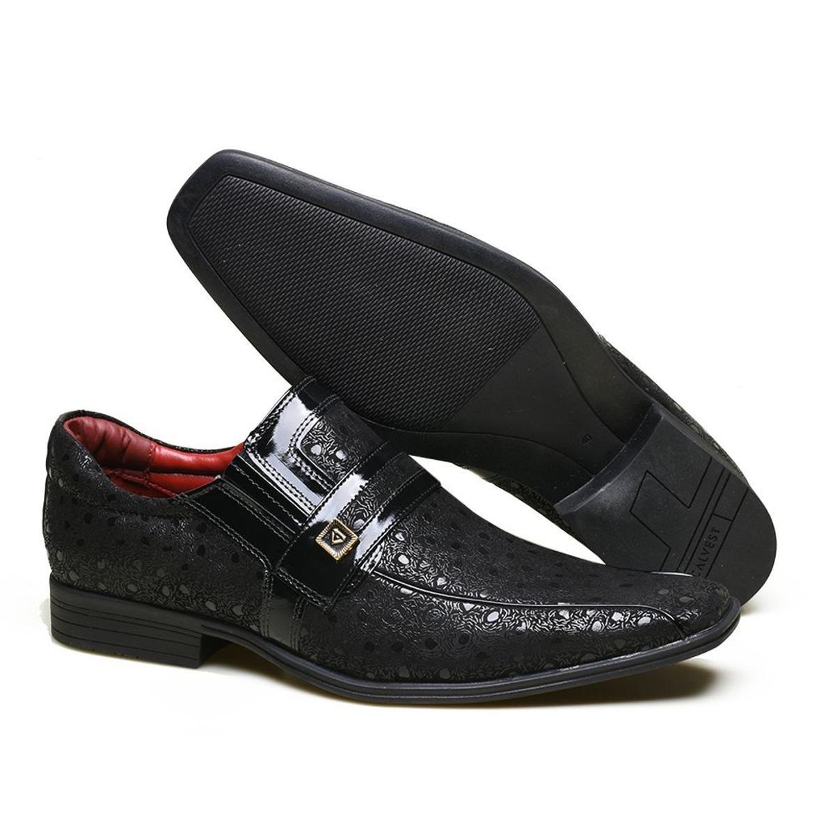 Sapato em Couro Textura Calvest Social Sapato Couro Preto com Social com Textura em 0Pqr08