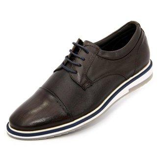 Sapato social esporte fino marrom em couro legitimo