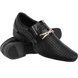 Sapato Social Euro Flex com Texturas Solado Borracha Leve Masculino