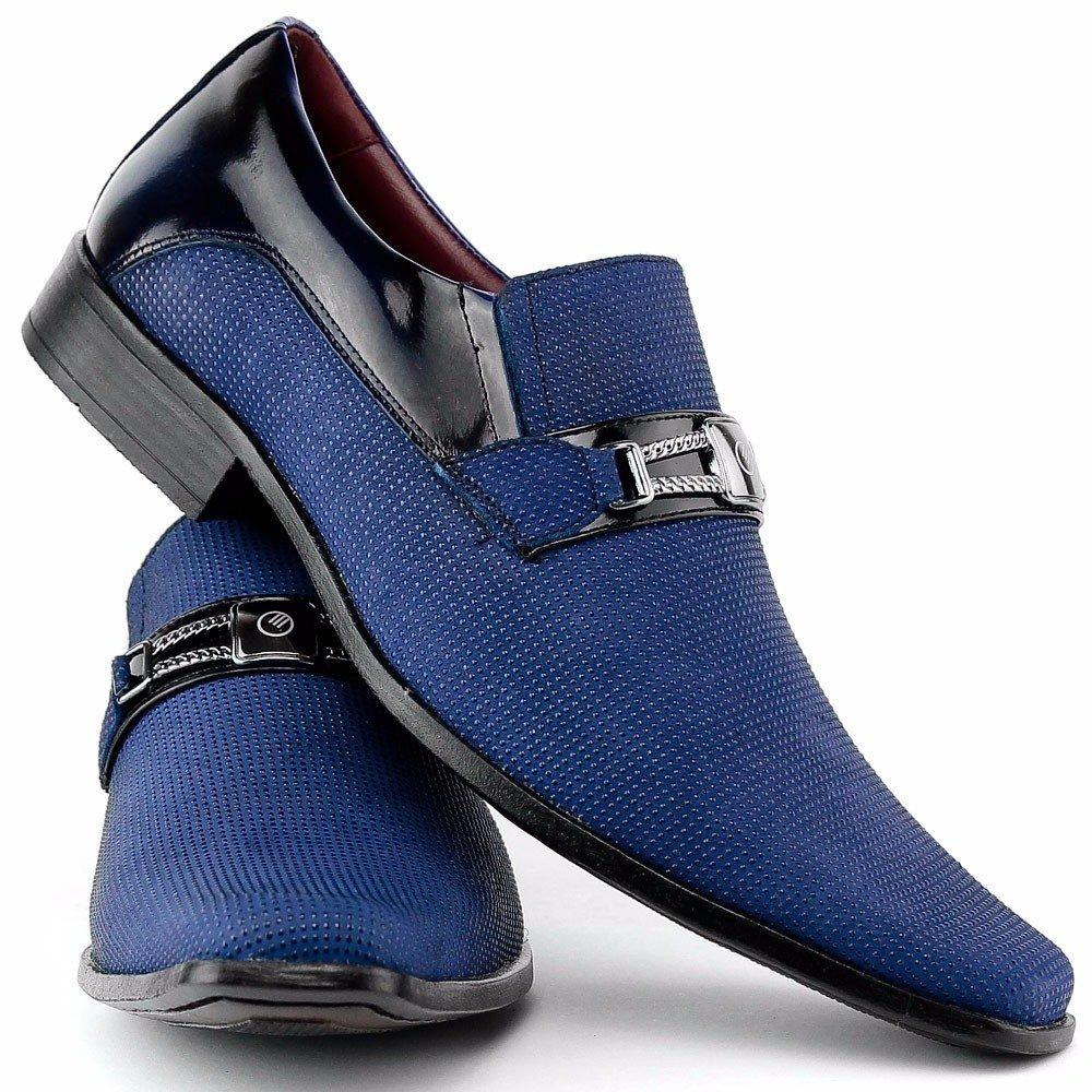 Italiano Gofer Estilo Social Azul Couro Em Sapato Masculino Legítimo wBxSZq5tC