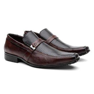 Sapato Social HShoes Couro Bico Quadrado Conforto Macio Masculino
