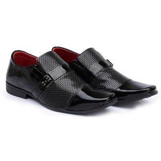 Sapato Social HShoes Verniz Bico Quadrado Liso Moderno Masculino