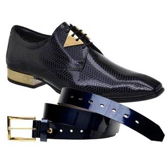 Sapato Social Jota Pe Verniz Blue + Cinto 74153