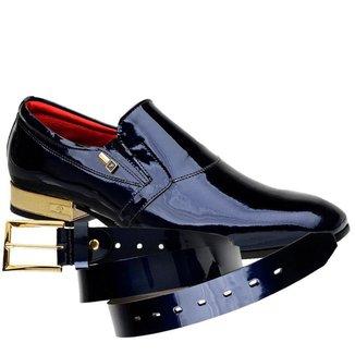 Sapato Social Jota Pe Verniz Purple Blue + Cinto 70900