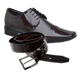 Sapato Social Jota Pe Verniz Vinho Air + Cinto 77700