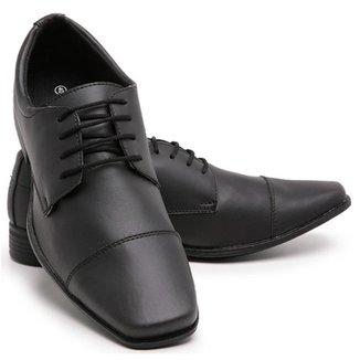Sapato Social Liso Bico Quadrado Cadarço Conforto Schiareli Masculino