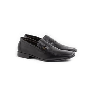 Sapato Social Loafer Masculino Couro Perfuros Conforto