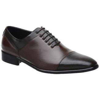 Sapato Social Malbork  Couro Carneiro Cadarço Masculino