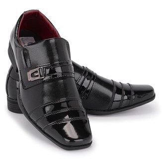 Sapato Social Masculino 833 Elástico Verniz Metal Conforto