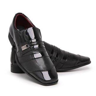 Sapato Social Masculino 839 Elástico Verniz Leve Conforto
