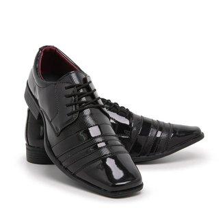 Sapato Social Masculino 840 Cadarço Verniz Leve Conforto