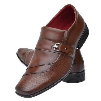Sapato Social Masculino Bico Fino Quadrado Fosco Fechamento Elástico