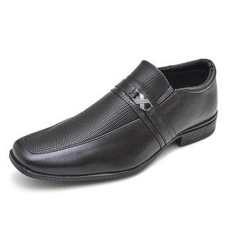 Sapato Social Masculino Bico Quadrado Textura e Detalhe Metal