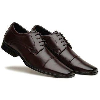 Sapato Social Masculino Cadarço Liso Confortável Dia a Dia