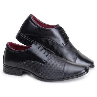 Sapato Social Masculino Cadarço Textura Conforto Casual