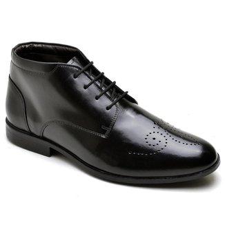 Sapato Social Masculino Cano Alto Couro Conforto Leve Macio