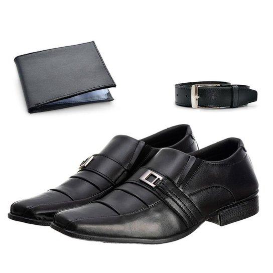 Sapato Social Masculino Confortável + Cinto + Carteira - Preto