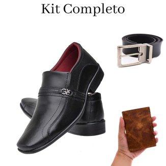 Sapato Social Masculino Conforto + Carteira Couro Animal + Cinto
