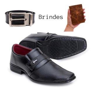 Sapato Social Masculino Conforto Flex Sola Costurada Anti Estresse + Cinto Couro e Carteira Couro
