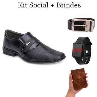 Sapato Social Masculino Conforto Gel + Cinto + Relógio + Carteira Couro