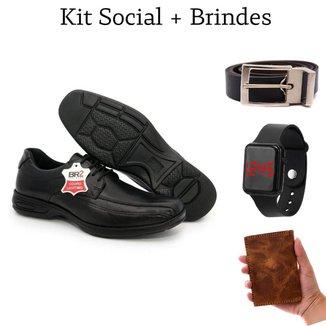 Sapato Social Masculino Conforto Gel Couro + Cinto + Relógio + Carteira Couro Animal