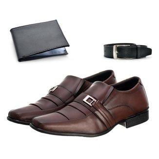 Sapato Social Masculino Conforto Leve + Cinto + Carteira