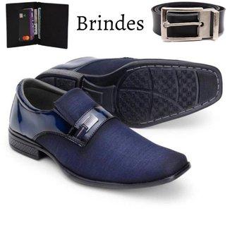 Sapato Social Masculino Costurado Conforto Flex Anti Estresse Gel + Cinto Couro e Carteira Couro