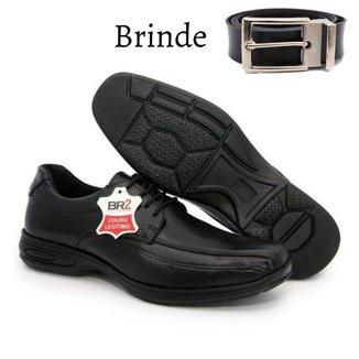 Sapato Social Masculino Couro Anti Estresse Palmilha Confort Gel + Cinto Masculino