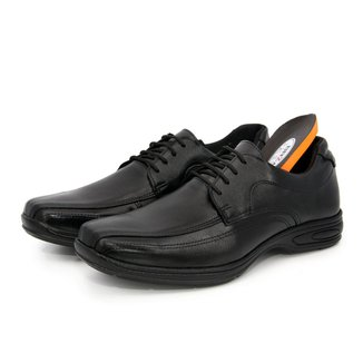 Sapato Social Masculino Couro Anti Estresse Palmilha Confort Gel Footwear