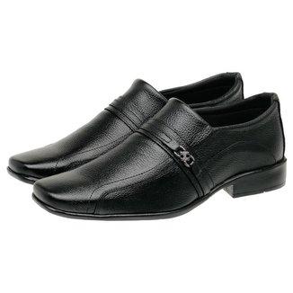 Sapato Social Masculino Couro Bico Quadrado Estilo Conforto
