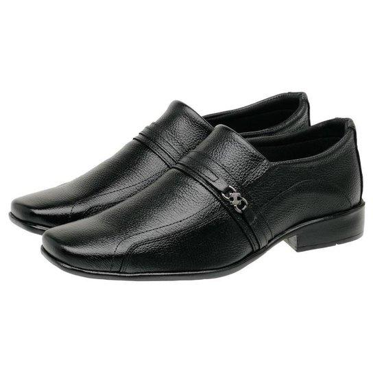 Sapato Social Masculino Couro Bico Quadrado Estilo Conforto - Preto