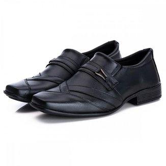 Sapato Social Masculino Couro Bico Quadrado Estilo Macio
