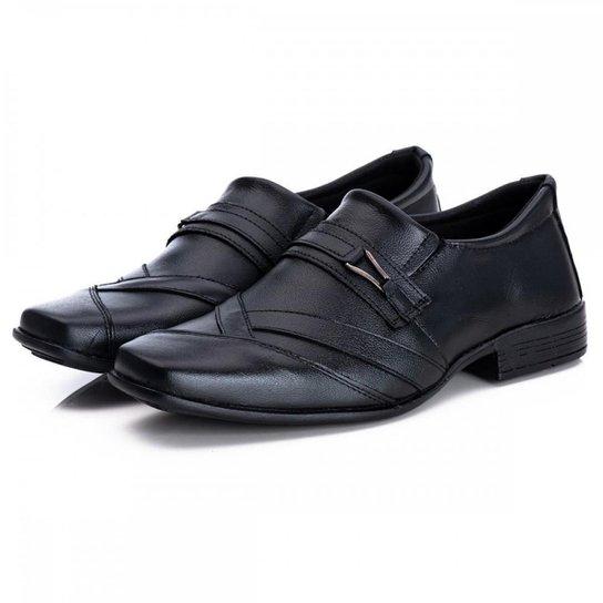 Sapato Social Masculino Couro Bico Quadrado Estilo Macio - Preto