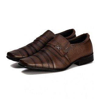 Sapato Social Masculino Couro Bico Quadrado Macio Conforto