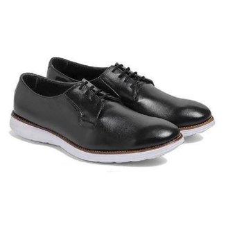 Sapato Social Masculino Couro Bico Redondo Cadarço Conforto