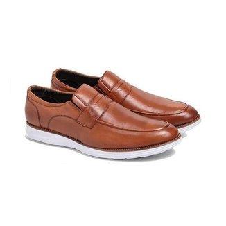 Sapato Social Masculino Couro Bico Redondo Liso Conforto