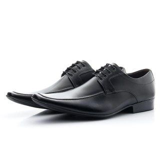 Sapato Social Masculino Couro Cadarço Bico Fino Conforto
