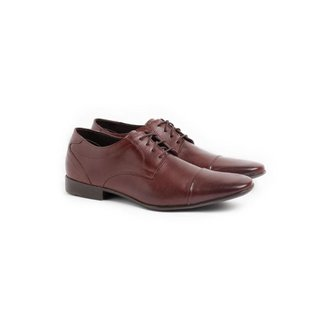 Sapato Social Masculino Couro Cadarço Dia a Dia Conforto