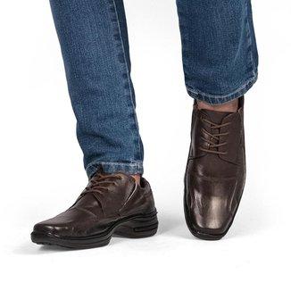 Sapato Social Masculino Couro Cadarço Liso Bico Quadrado