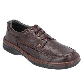 Sapato Social Masculino Couro Cadarço Liso Confortável