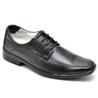 Sapato Social Masculino Couro Cadarço Liso Conforto Casual