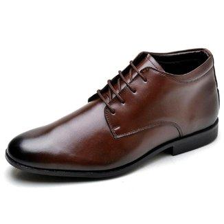 Sapato Social Masculino Couro Cano Medio Bico Redondo Liso
