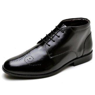 Sapato Social Masculino Couro Cano Medio Bico Redondo