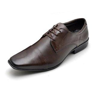 Sapato Social Masculino Couro Com Textura Bico Quadrado