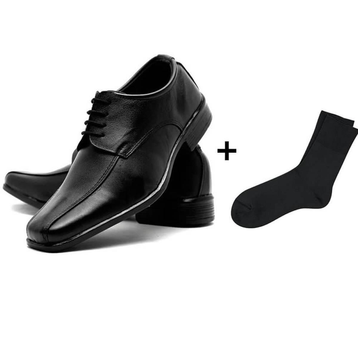 b23dbe12cf Sapato Social Masculino Couro de Amarrar Fox Shoes + Meia - Compre Agora
